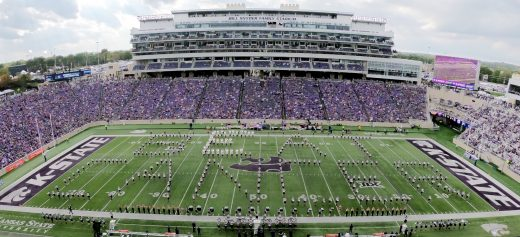 K-State Marching Band formation spells Beat Cancer