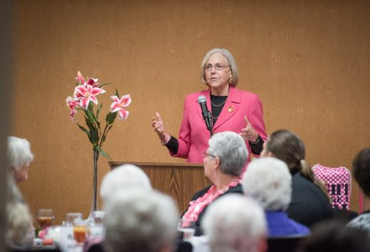 Peggy Johnson speaking at 2017 Pink Power Luncheon
