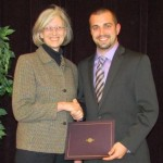 Benton McGivern receiving undergraduate Cancer Research Award