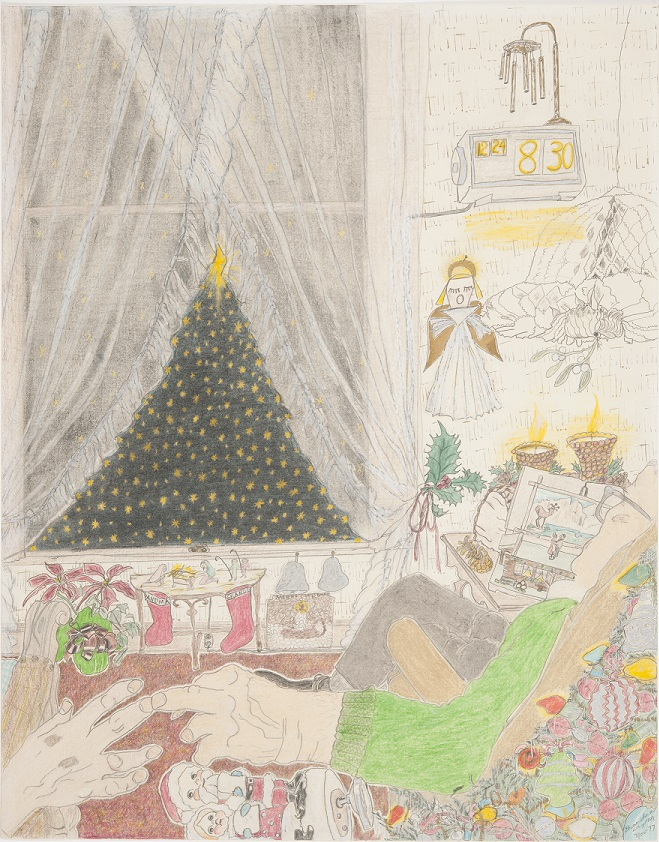 Elizabeth Layton, Christmas Eve, 1977, colored pencil on paper, KSU, Beach Museum of Art, gift of the Lawrence Arts Center, 2014.448