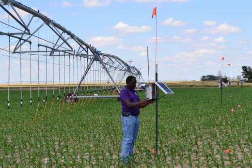 Researcher checks moisture meters