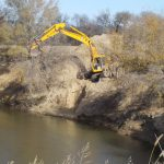 Excavator removes trees from stream bank