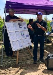 Jonathan Aguilar addresses farmers at tech farm field day