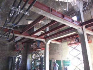 East Stadium – Welcome Center interior framing for new second floor.