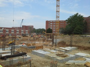 Wefald Hall looking northwest at foundations systems. Kramer Dining Center, Goodnow and Marlatt Halls in the background.