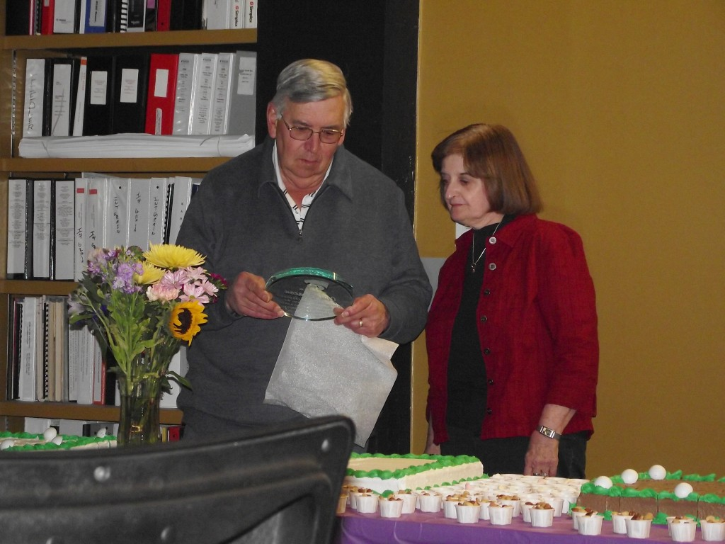 Jim Chacon with his wife, Marcia, at his retirement reception.