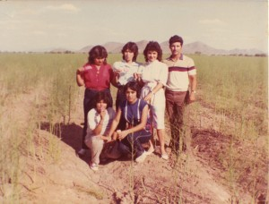 Pedro with his sisters and cousins at their farmland (milpas) in Altar, Sonora.