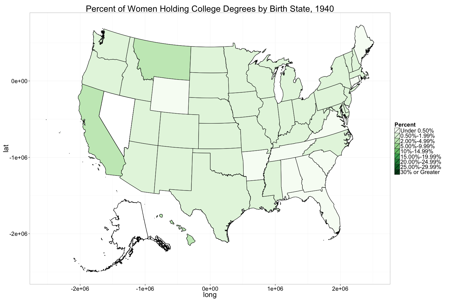 figures 3 percent of women holding college degrees by birth state 1940