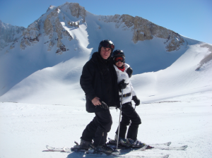 Sebastian and his wife skiing in Argentina