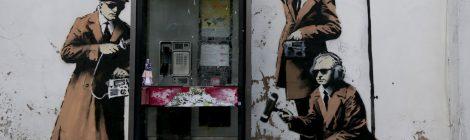 "Graffiti artist Banksy's ""Spy Booth."""