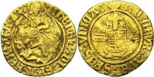 """The 16th century golden """"angel"""" coin used in Britain."""