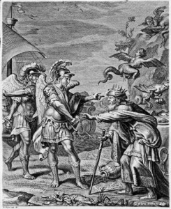 King Phineas, old and malnourished, begs the Argonauts to drive away the harpies plaguing him