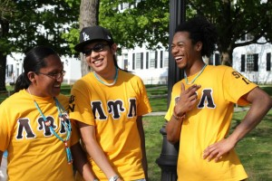 Eduardo with his fraternity brothers.