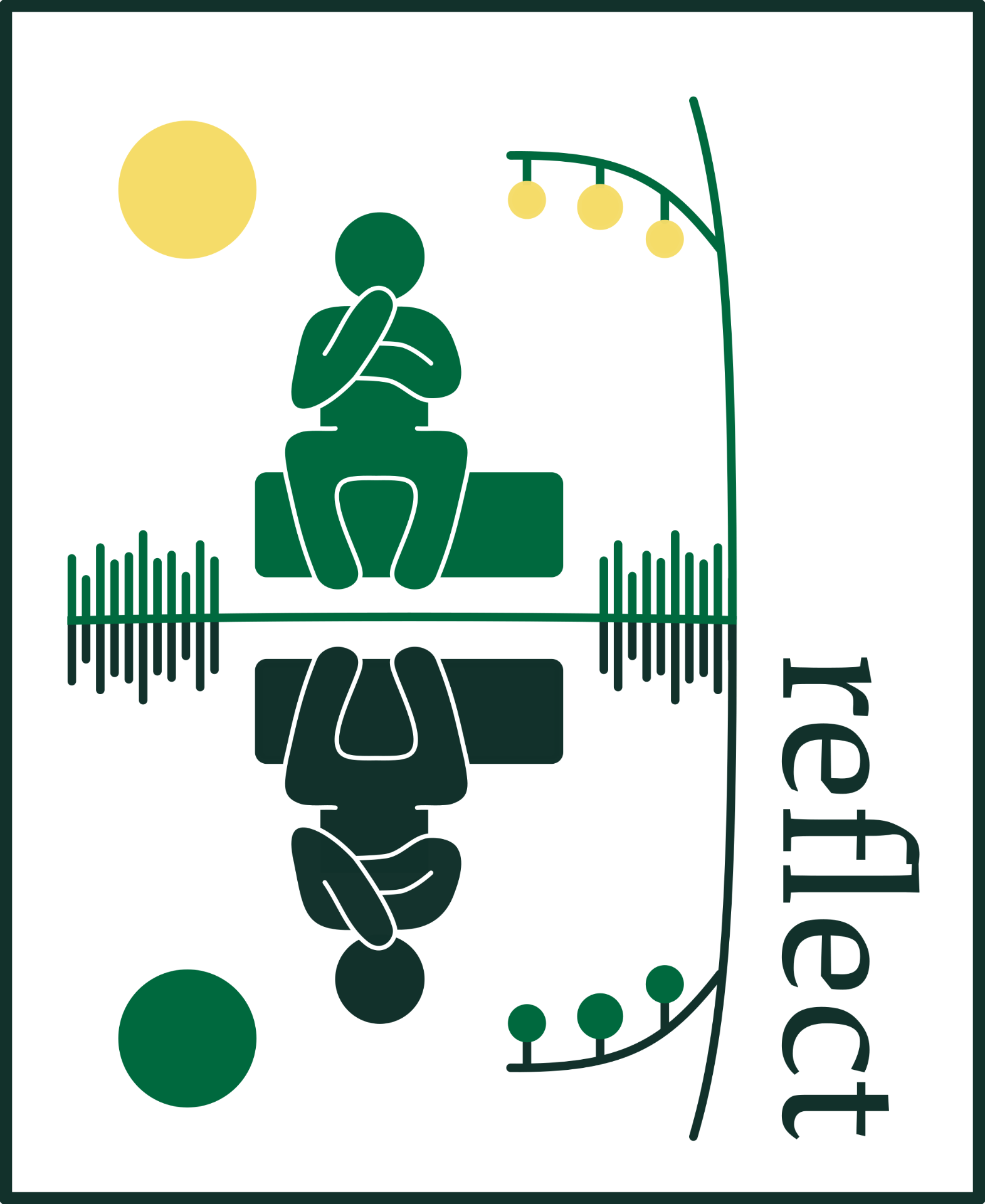 "Decorative icon; a seated figure is reflected in water near the word ""reflect"""