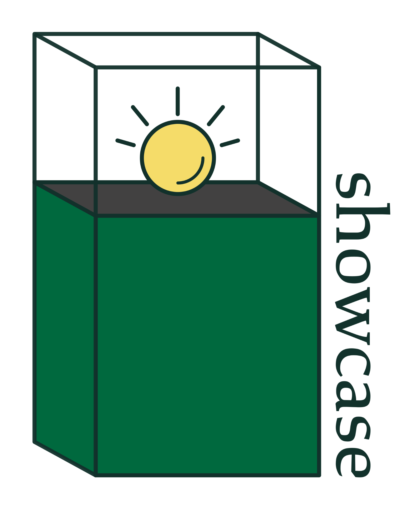 "Decorative icon; an sphere is displayed in a case near the word, ""showcase"""