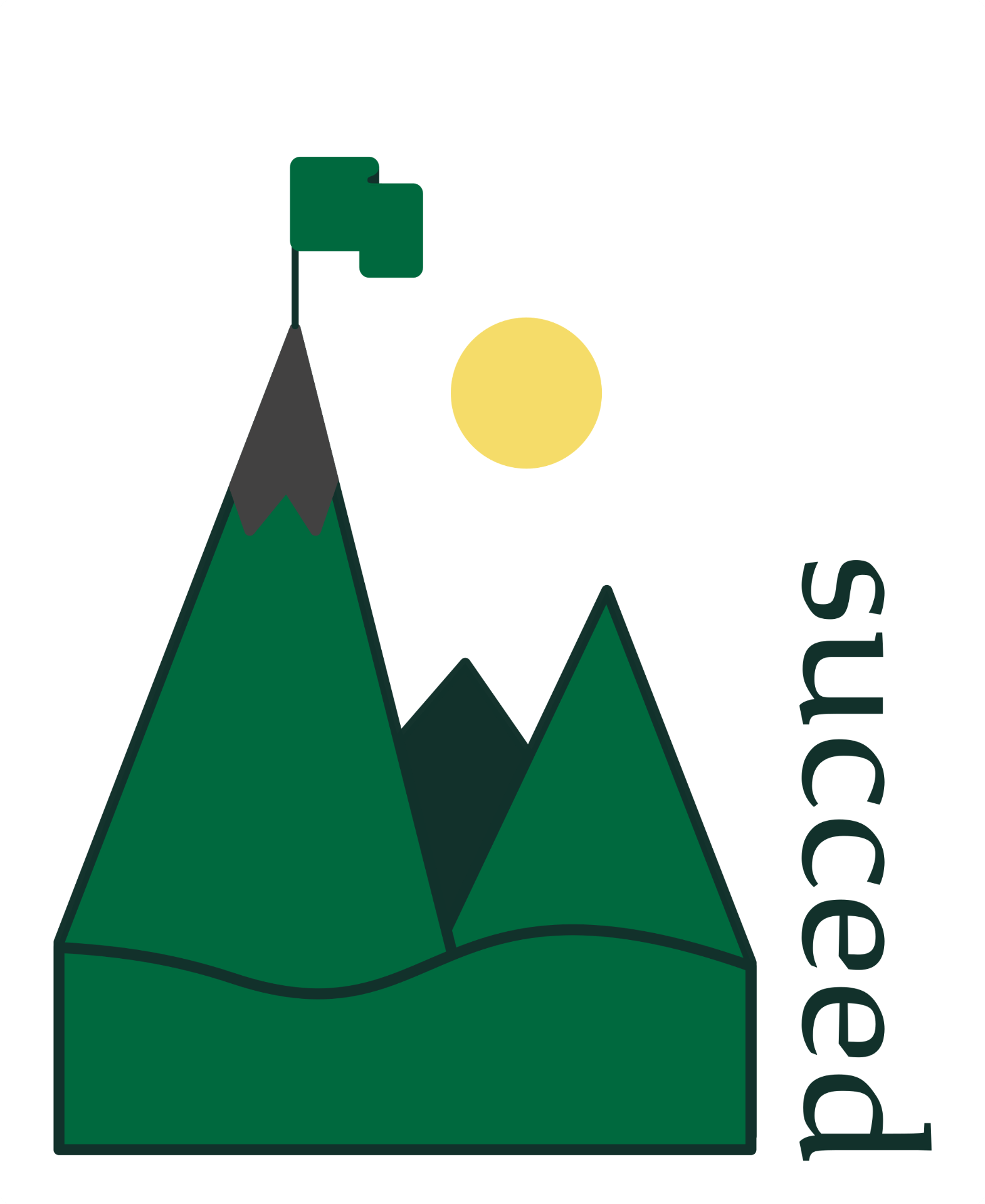 "Decorative icon; a flag sits atop a mountain range near the word, ""succeed"""