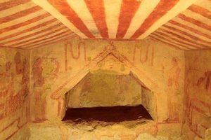 The inside of an Etruscan tomb. Brilliantly painted and preserved.