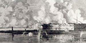 Fort Pulaski under fire April 10–11, 1862. Leslie's Weekly Magazine.
