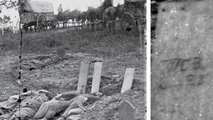 Fallen confederate soldiers with identifying headboards on Rose Farm. LOC, Civil War Trust.
