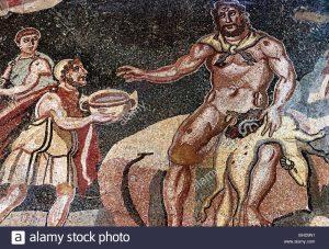 Roman Empire mosaic; scene from