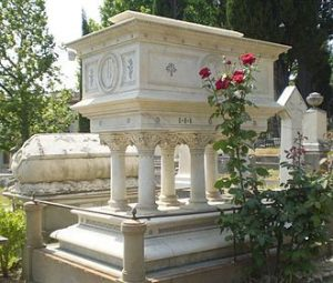 Elizabeth Barrett Browning's tomb, English Cemetery, Florence. 2007