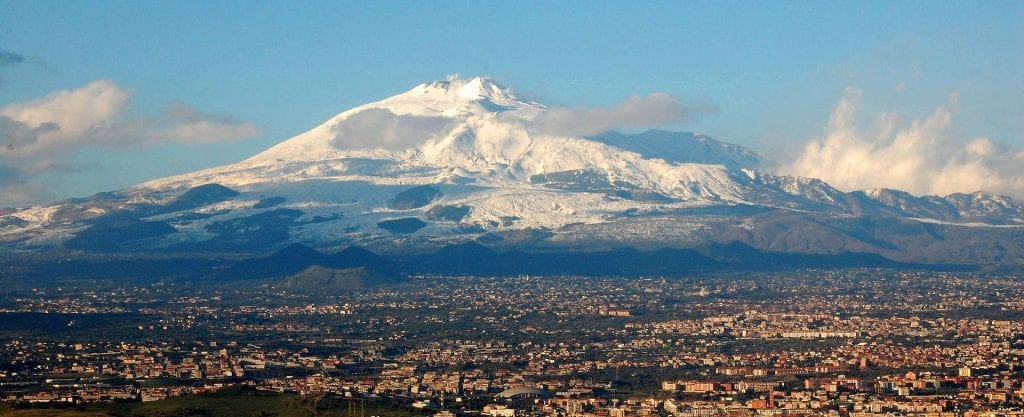 Etna with the city of Catania in the foreground