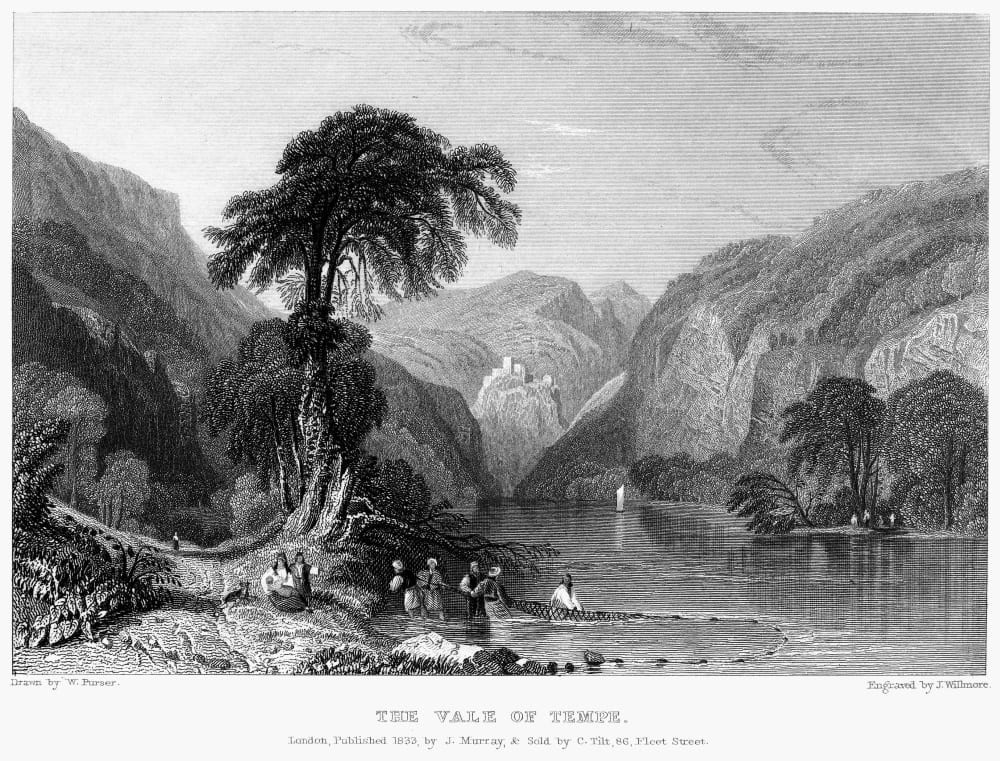 Vale of Tempe, Thessaly, 1833 by James Willmore, after William Purser