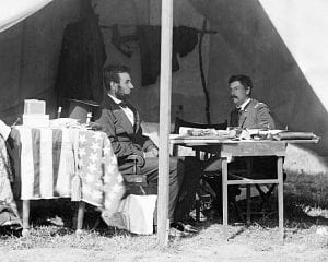 President Lincoln and General McClellan meeting after Antietam