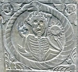 "Puritan Headstone with the ""Grim Reaper"""