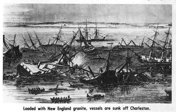 In late 1861, the US Navy bought old ships, loaded them with New England granite, then sank them off Charleston in an attempt to blockade the harbor. credit Brian Hicks
