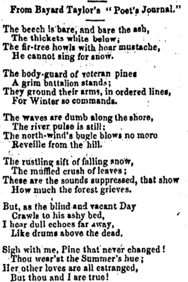 Poem by Bayard Taylor