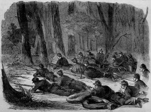 The Army of the Potomac — Our Outlying Picket in the Woods, a wood engraving sketched by Winslow Homer and published in Harper's Weekly, June 7, 1862.