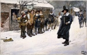 """The Puritan Governor interrupting the Christmas Sports,"" by Howard Pyle c. 1883"