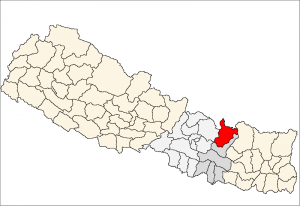 Dolakha, one of 75 districts in Nepal (https://upload.wikimedia.org/wikipedia/commons/4/4c/Dolkha_district_location.png)