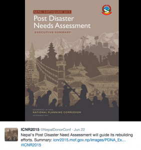 """The International Conference on Nepal's Reconstruction posted the National Planning Commission's """"Post Disaster Needs Assessment 2015"""" to their social media sites."""