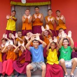 McMurtry College seniors Trent Navran (front row, third from right) and Christopher Liu spent the summer studying Tibetan Buddhism in Nepal, thanks to a Parish Fellowship from Wiess College.