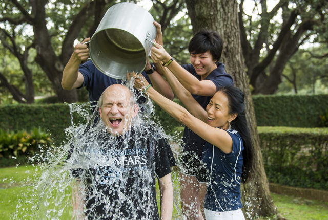 President Leebron accepted the ALS Ice Bucket Challenge and challenged Rice students to raise money for the cause.