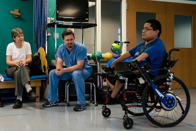 Rice students build a custom wheelchair for a teenager with arthrogryposis that will let him paddle the chair forward and backward.