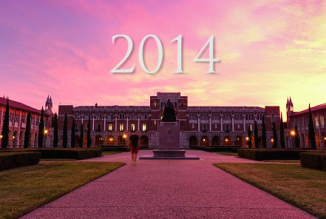 A video montage of 2014, a year at Rice of extraordinary opportunities, discoveries and achievements.