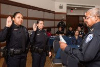 Rice University Police Department (RUPD) swore in six members Dec. 15 during a ceremony at Farnsworth Pavilion in the Rice Memorial Center.
