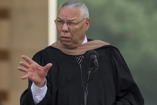 Retired Gen. Colin Powell discussed leadership at Rice University's 102nd commencement.