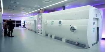 Two 20-seat hyperbaric chambers at the Sagol Center for Hyperbaric Medicine and Research in Israel.