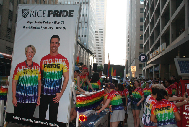 Rice alumni Annise Parker and Ryan Levy are pictured on Rice's float for Houston's pride parade.