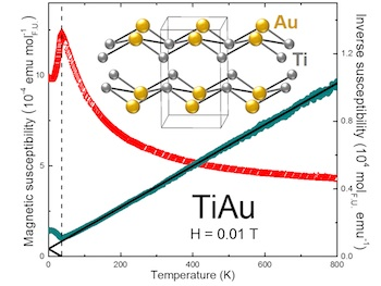 Measurements show that a crystalline form of titanium and gold – TiAu – becomes magnetic (red peak) at a cold 36 kelvins, about minus 395 degrees Fahrenheit.