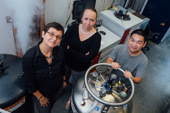 Rice University researchers (from left) Emilia Morosan, Eteri Svanidze and Jiakui Wang revealed their discovery of the first itinerant antiferromagnet, a synthetic crystal of titanium and gold.