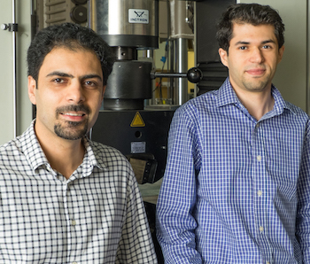 Rice researchers Rouzbeh Shahsavari (left) and Navid Sakhavand calculated the flow of heat across simulated structures of hexagonal boron nitride and boron nitride nanotubes.