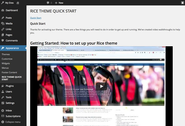 quick start page
