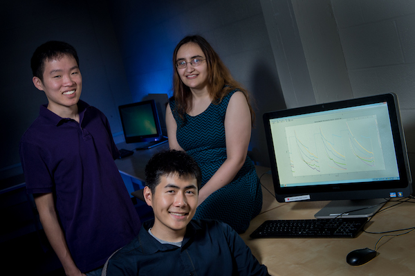 Rice engineering students are helping to maximize the promise of magnetic nanoparticles to find faint traces of cancer in patients. From left: Brian Ho, Eric Sung and Rachel Hoffman.