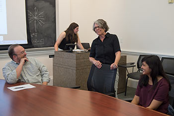 Lisa Balabanlilar, standing at center, teaches topics that range from the history of India and a world comparative history of imperial pleasure gardens to the rise of Mongol power in Central Asia and a comparative cultural history of the major Islamic empires of the 16th and 17th centuries.