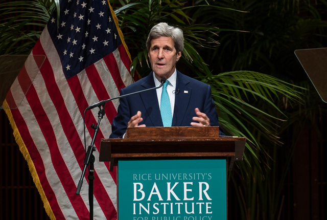 Secretary of State John Kerry took to the stage in a packed house at Rice's Stude Concert Hall April 26 for a Baker Institute for Public Policy event focusing on the link between religion and foreign policy.